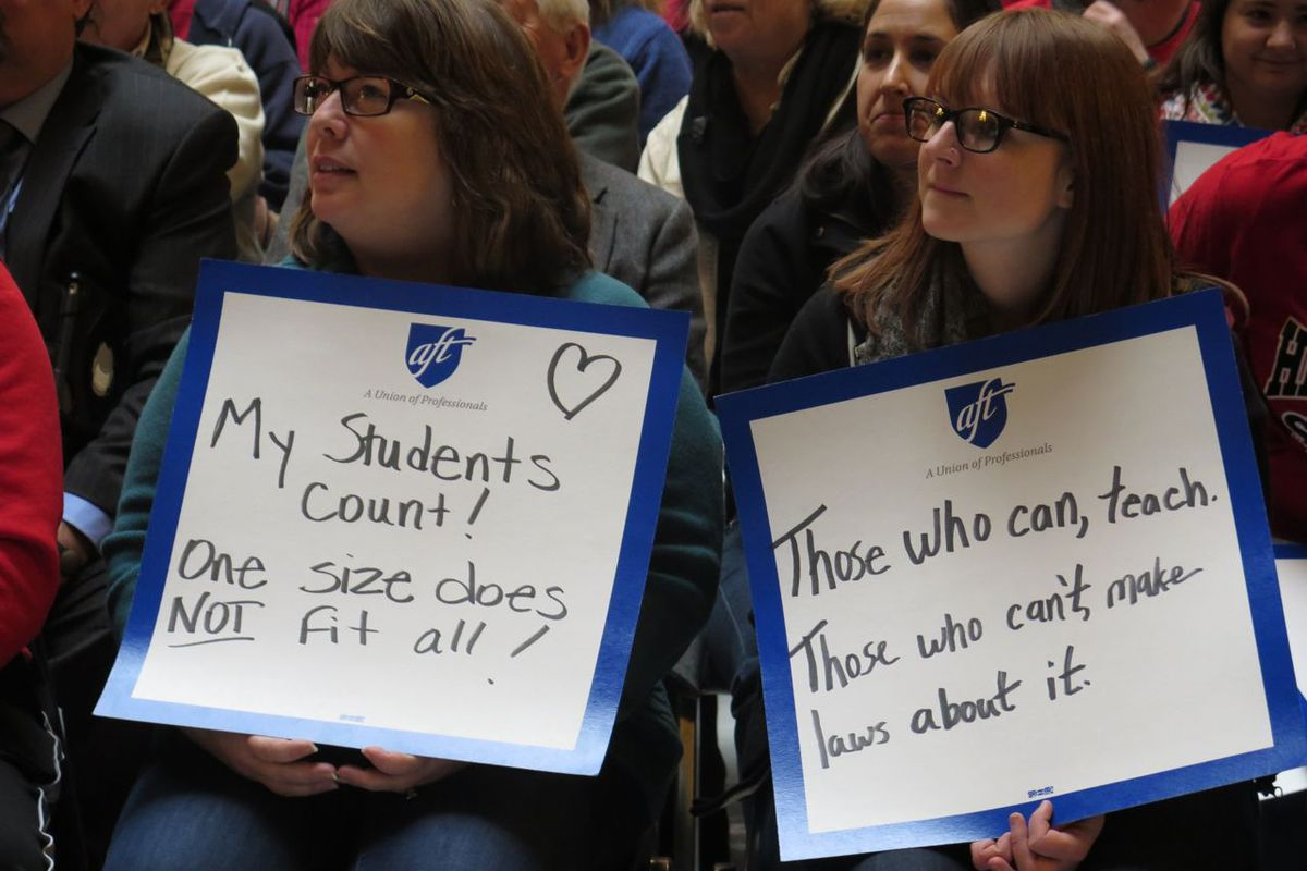 Union-affiliated teachers attended a rally for Superintendent Glenda Ritz last year. Teachers unions led the charge against Senate Bill 10.