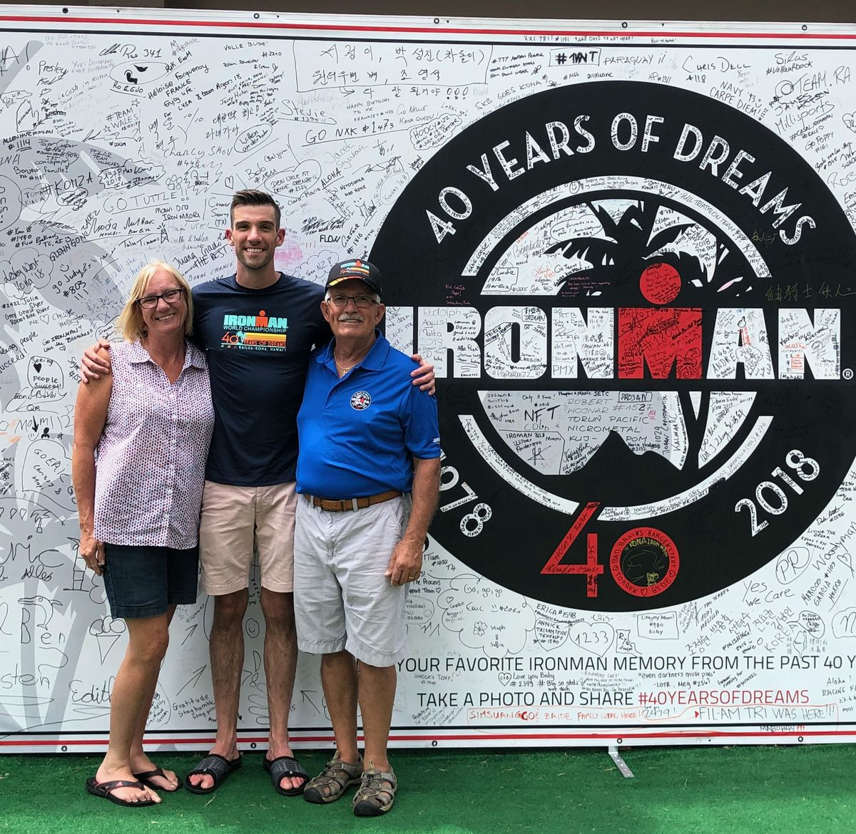 Michael Lalli with his mom and dad the day after racing in the IRONMAN world championship in Kona in 2018.