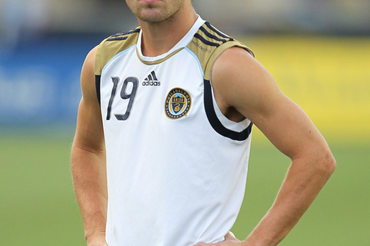 CHESTER PA - AUGUST 11: Forward Jack McInerney #19 of the Philadelphia Union warms-up before the game against Real Salt Lake at PPL Park on August 11 2010 in Chester Pennsylvania. The game was a 1-1 tie. (Photo by Hunter Martin/Getty Images)