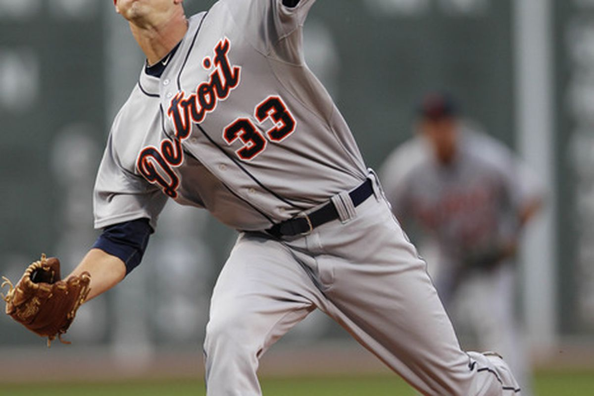 May 30, 2012; Boston, MA, USA; Detroit Tigers pitcher Drew Smyly (33) delivers a pitch during the first inning against the Boston Red Sox at Fenway Park.  Mandatory Credit: Greg M. Cooper-US PRESSWIRE