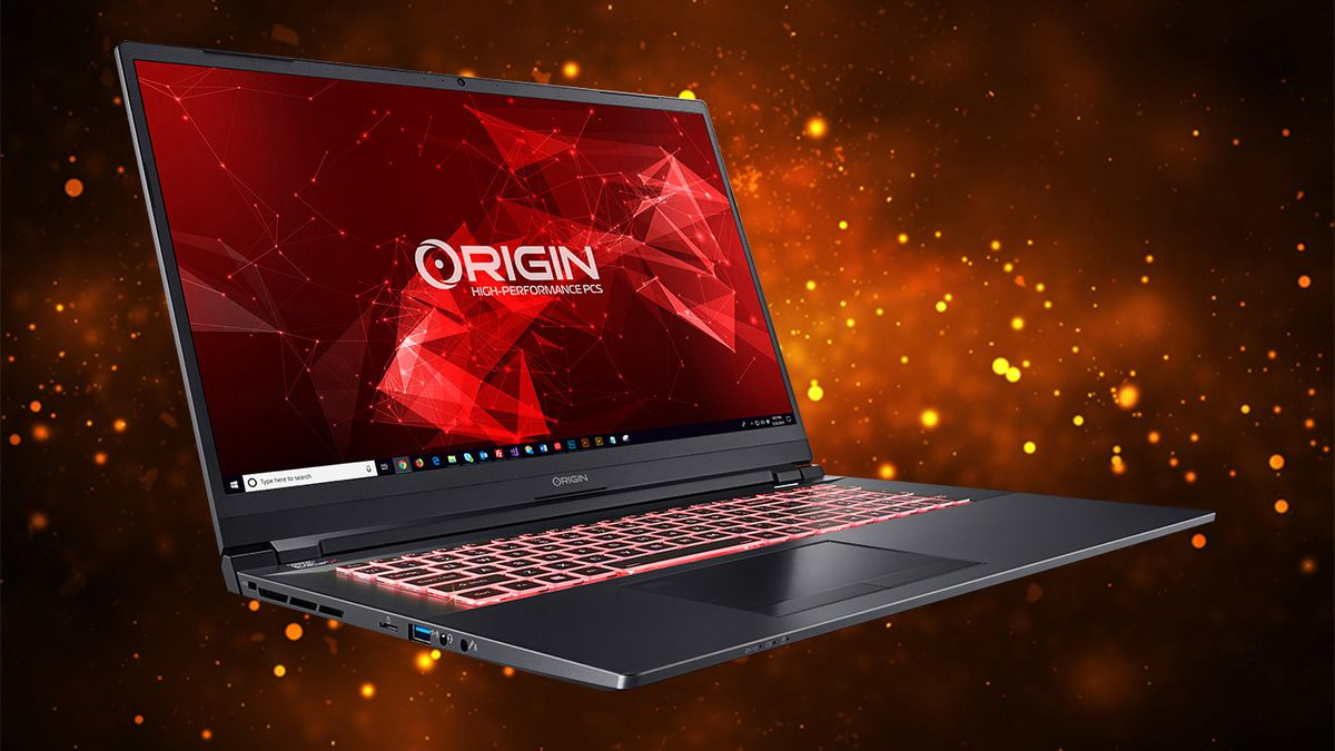 Origin NT-17 angled to the right on an orange and black background.  The screen displays the Origin logo on a red background.