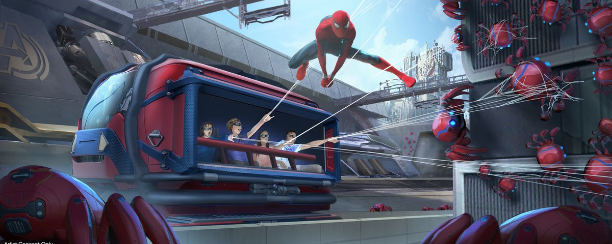 WEB SLINGERS: A Spider-Man Adventure in Avengers Campus at Disney California Adventure Park in Anaheim, California, will allow Super Hero recruits to put their web-slinging skills to the test as they team up with Spider-Man to capture his out-of-control Spider-Bots before they wreak havoc on the Campus. Avengers Campus opens summer 2020. (Disneyland Resort)