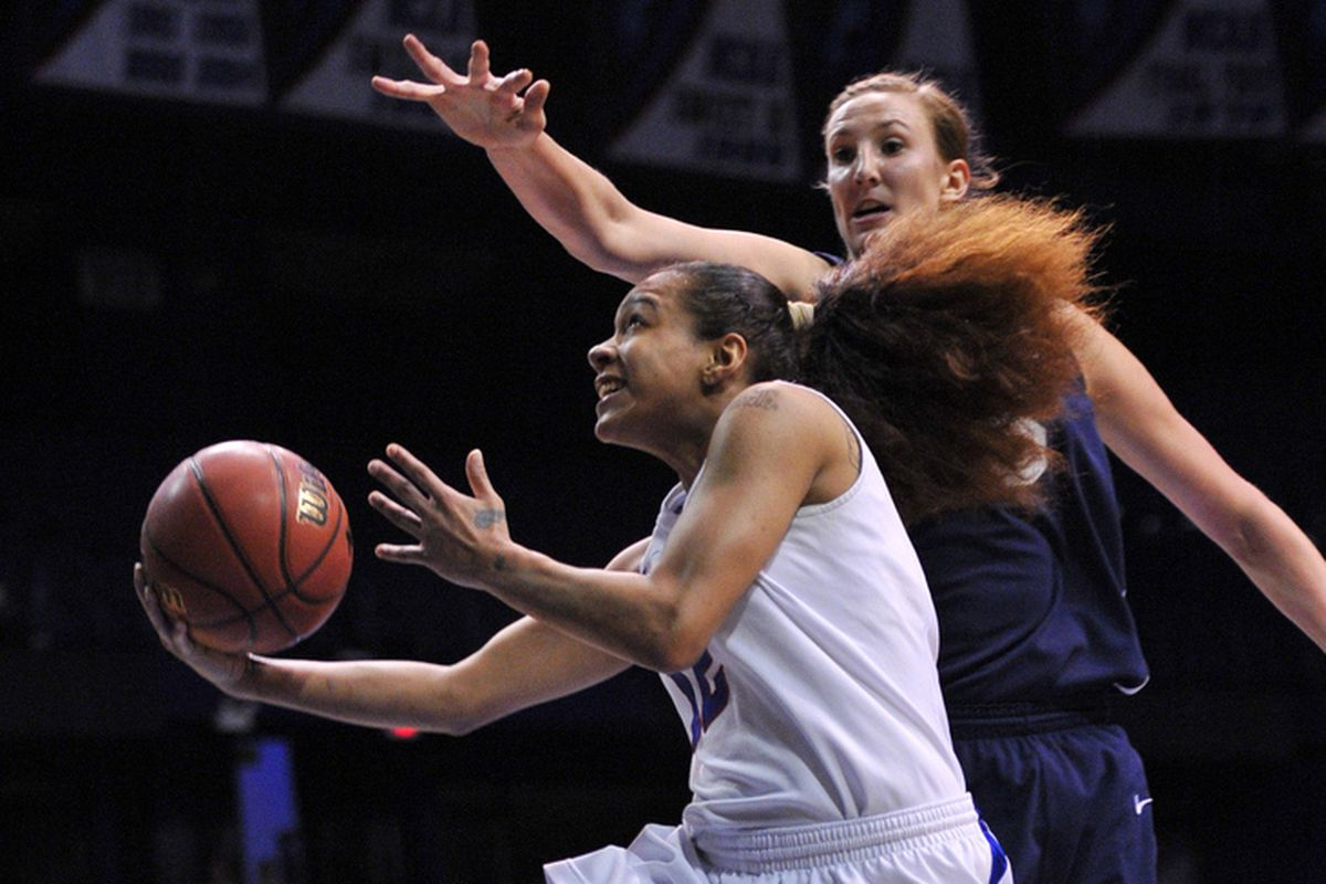 BYU's Jennifer Hamson is among the nation's top shot blockers and apparently on the radar for WNBA scouts.