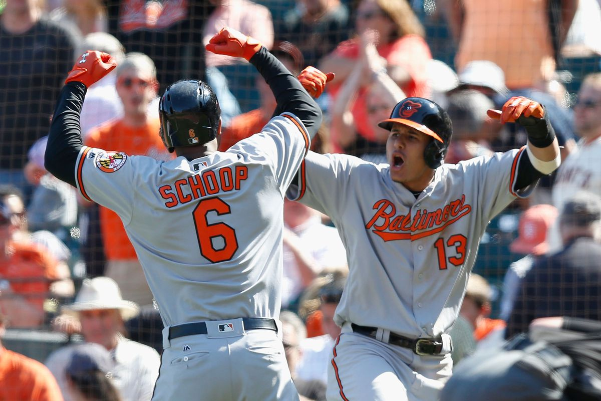 Jonathan Schoop and Manny Machado celebrate Schoop's go-ahead home run, which gave the Orioles the lead.
