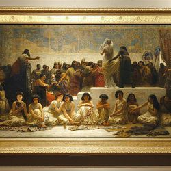 """The painting titled """"The Babylonian Marriage Market"""" by Edwin Longsden Long is part of BYU's Museum of Art's new art exhibit on Victorian art."""