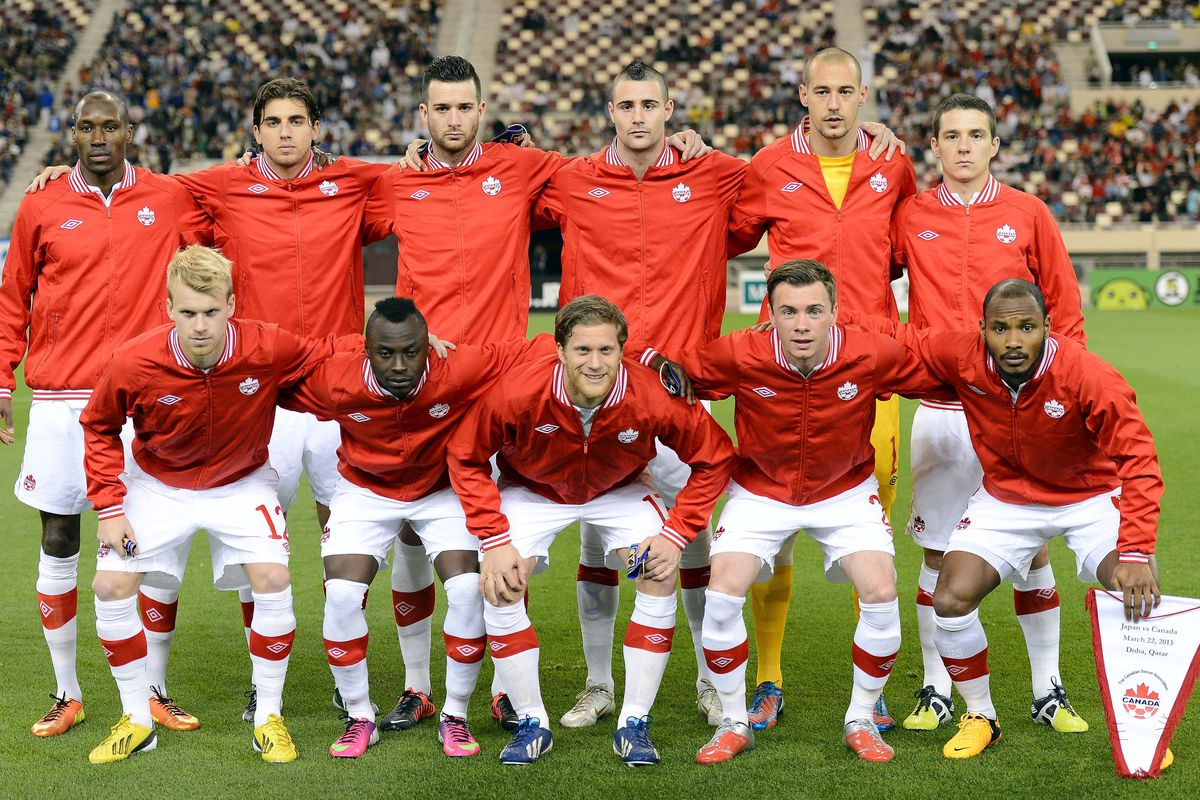 The Canadian Men's National Team prior to a match vs. Japan in March 2013.