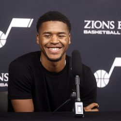 Utah Jazz guard Jared Butler speaks during a press conference at the Zions Bank Basketball Campus in Salt Lake City on Saturday, July 31, 2021. Butler was the No. 40 draft pick in the NBA.