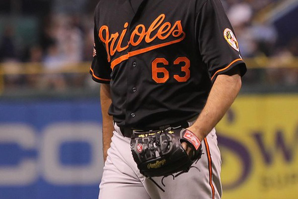 June 1, 2012; St. Petersburg, FL, USA; Baltimore Orioles relief pitcher Kevin Gregg (63) after he pitched against the Tampa Bay Rays at Tropicana Field. Tampa Bay Rays defeated the Baltimore Orioles 5-0. Mandatory Credit: Kim Klement-US PRESSWIRE