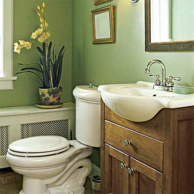 A Half Bath With Vanity For Extra Storage