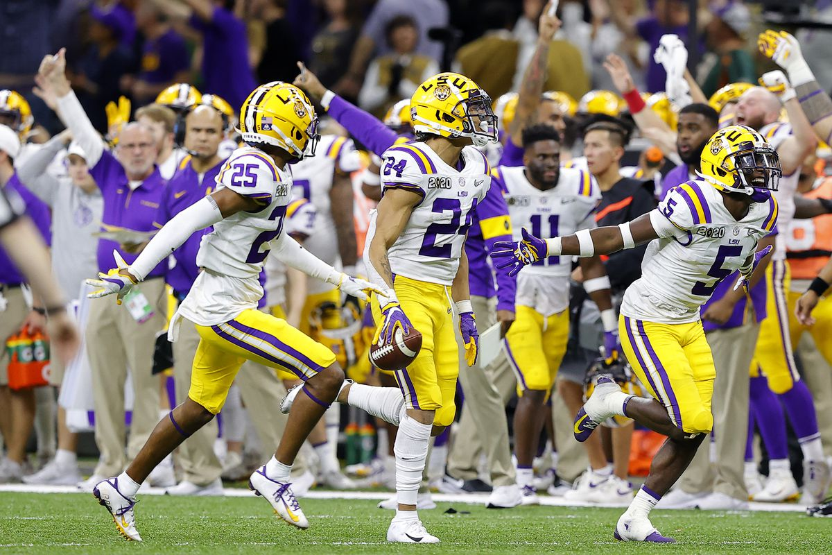 Derek Stingley Jr. of the LSU Tigers reacts to a fumble against Clemson Tigers in the College Football Playoff National Championship game at Mercedes Benz Superdome on January 13, 2020 in New Orleans, Louisiana.