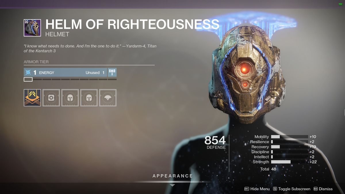 Destiny 2's Helm of Righteousness