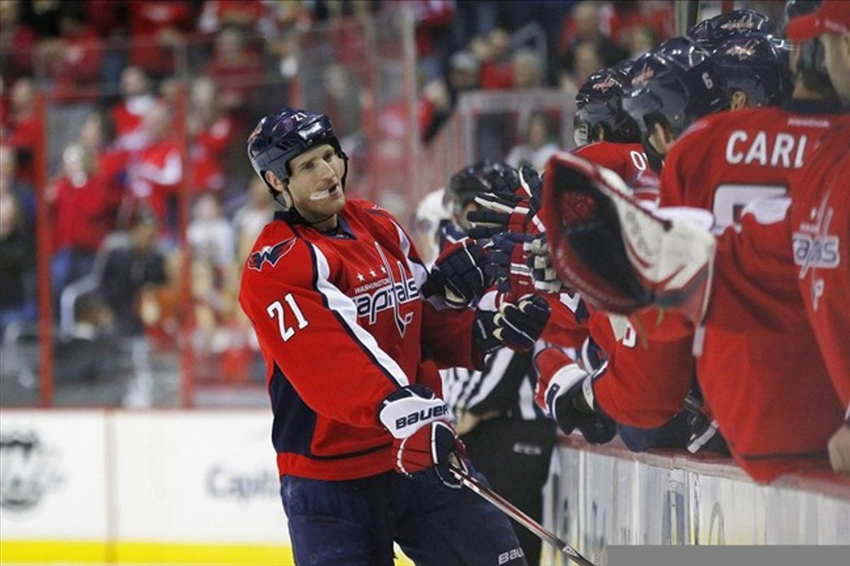 March 11, 2012; Washington, DC, USA; Washington Capitals center Brooks Laich (21) celebrates after scoring a shorthanded goal against the Toronto Maple Leafs in the first period at Verizon Center. Mandatory Credit: Geoff Burke-US PRESSWIRE