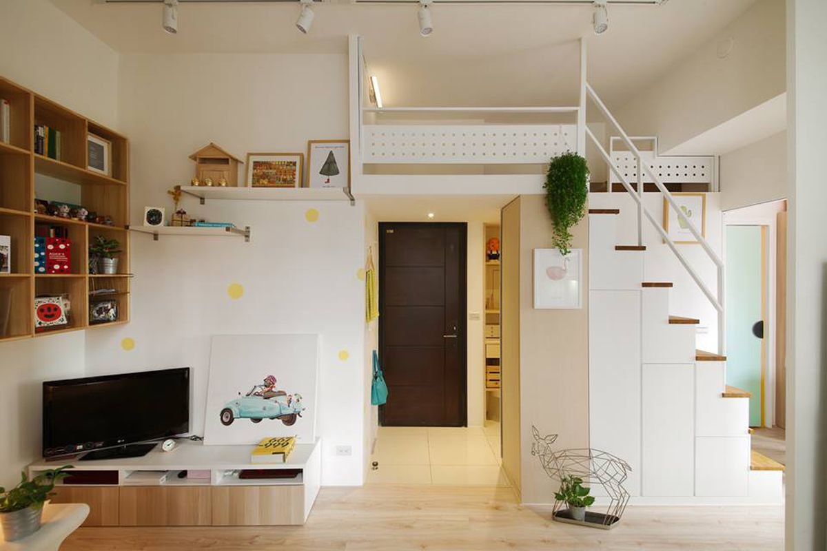 Compact apartment gets efficient airy makeover in taiwan for Tiny apartment