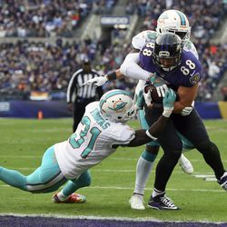Baltimore Ravens tight end Dennis Pitta (88) outruns Miami Dolphins free safetys Michael Thomas, left, and Bacarri Rambo for a touchdown in the first half of an NFL football game, Sunday, Dec. 4, 2016, in Baltimore. (AP Photo/Gail Burton)