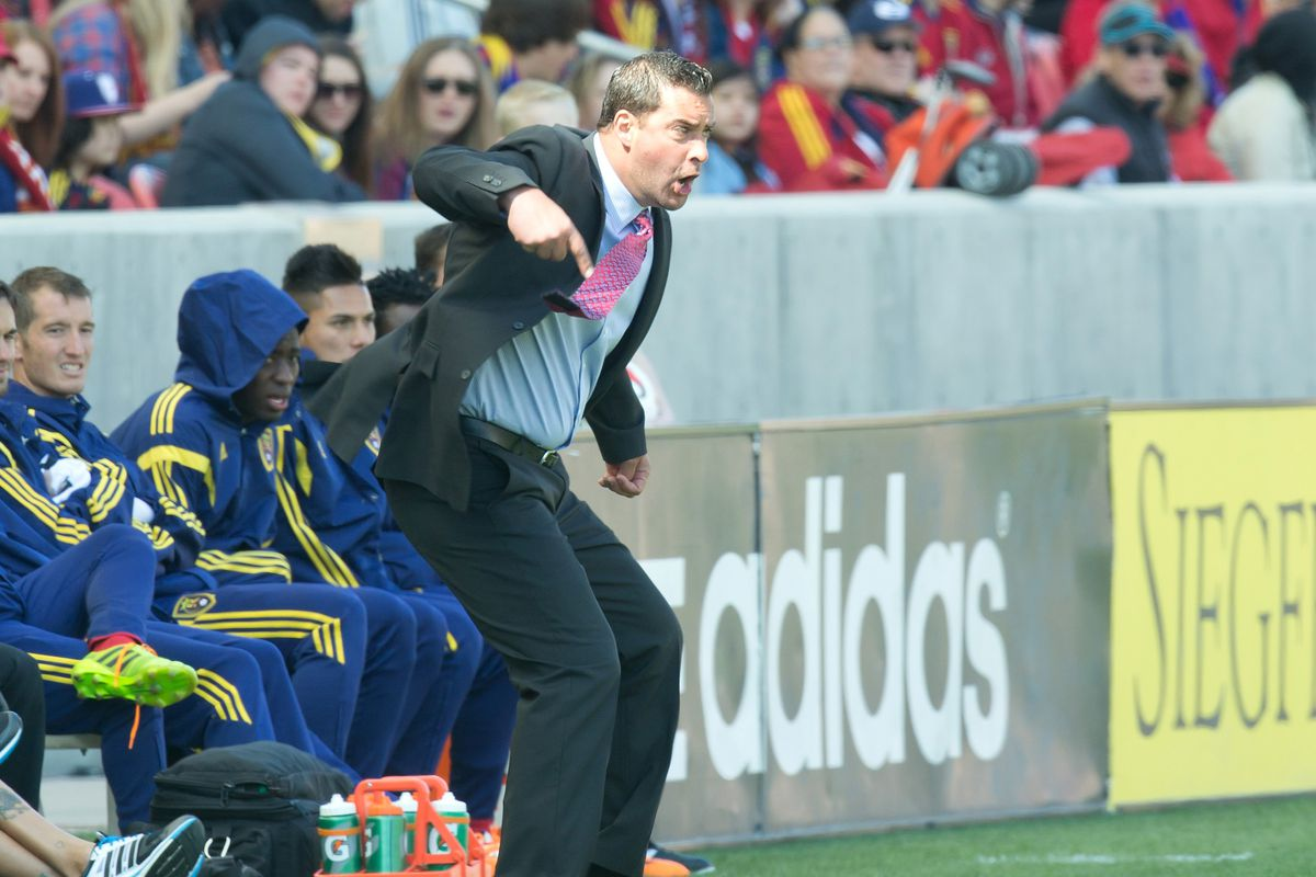 New Salt Lake Head Coach Jeff Cassar - subtly giving instruction from the sideline