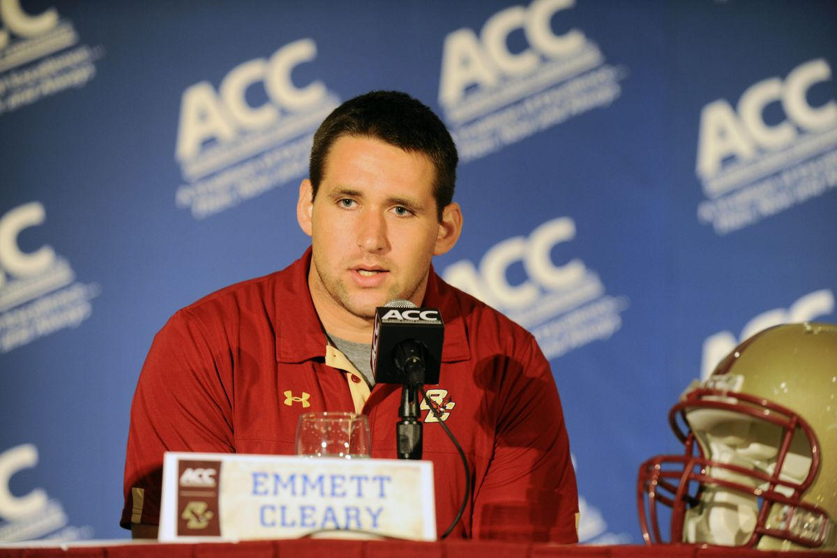 July 22, 2012; Greensboro, NC, USA; Boston College Eagles offensive tackle Emmett Cleary talks to the media during ACC media day at the Grandover Resort in Greensboro NC. Mandatory Credit: Sam Sharpe-US PRESSWIRE
