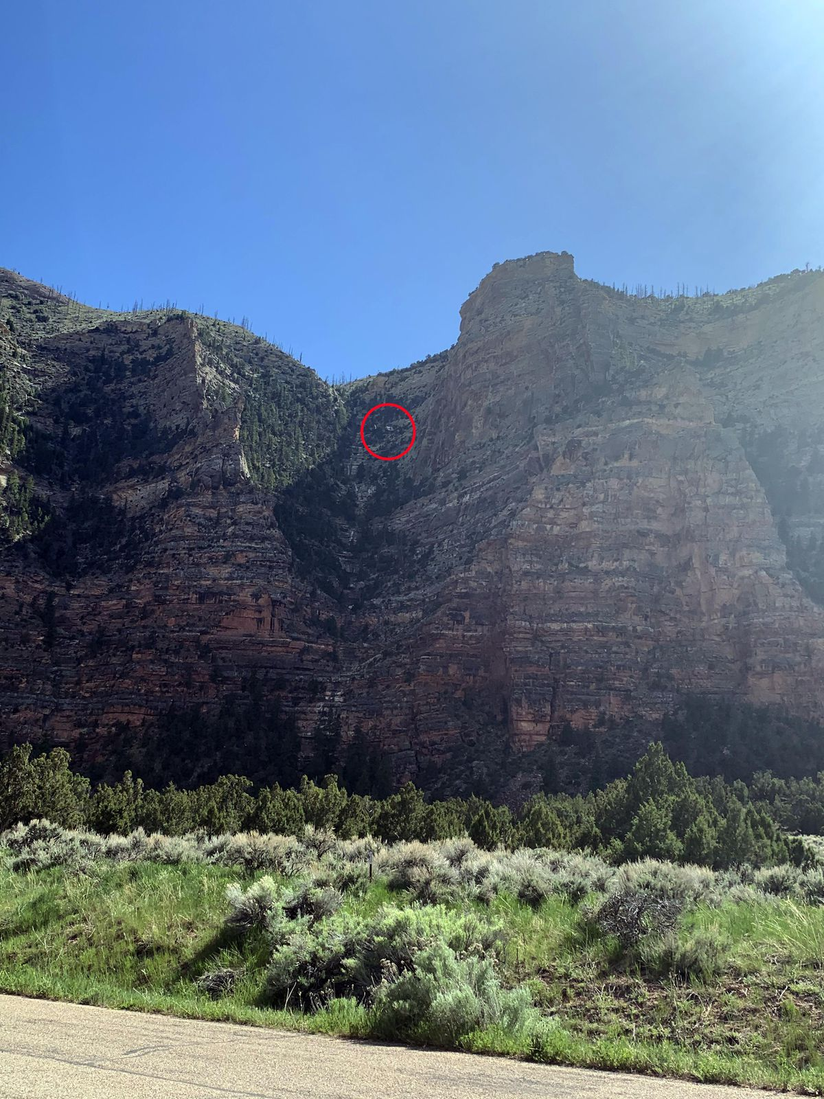 A red circle shows the location of a man was rescued Saturday, May 23, 2020, after becoming injured and stranded on a cliff in Uintah County.