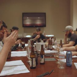 """A still from """"Not A War Story"""" shows the script-reading during the making of """"Range 15."""" The new documentary """"Not A War Story"""" premieres June 30 in Los Angeles and tells the behind-the-scenes story of """"Range 15,"""" a darkly comedic zombie-apocalypse movie starring only veterans and meant to poke fun at how Hollywood typically portrays the military."""