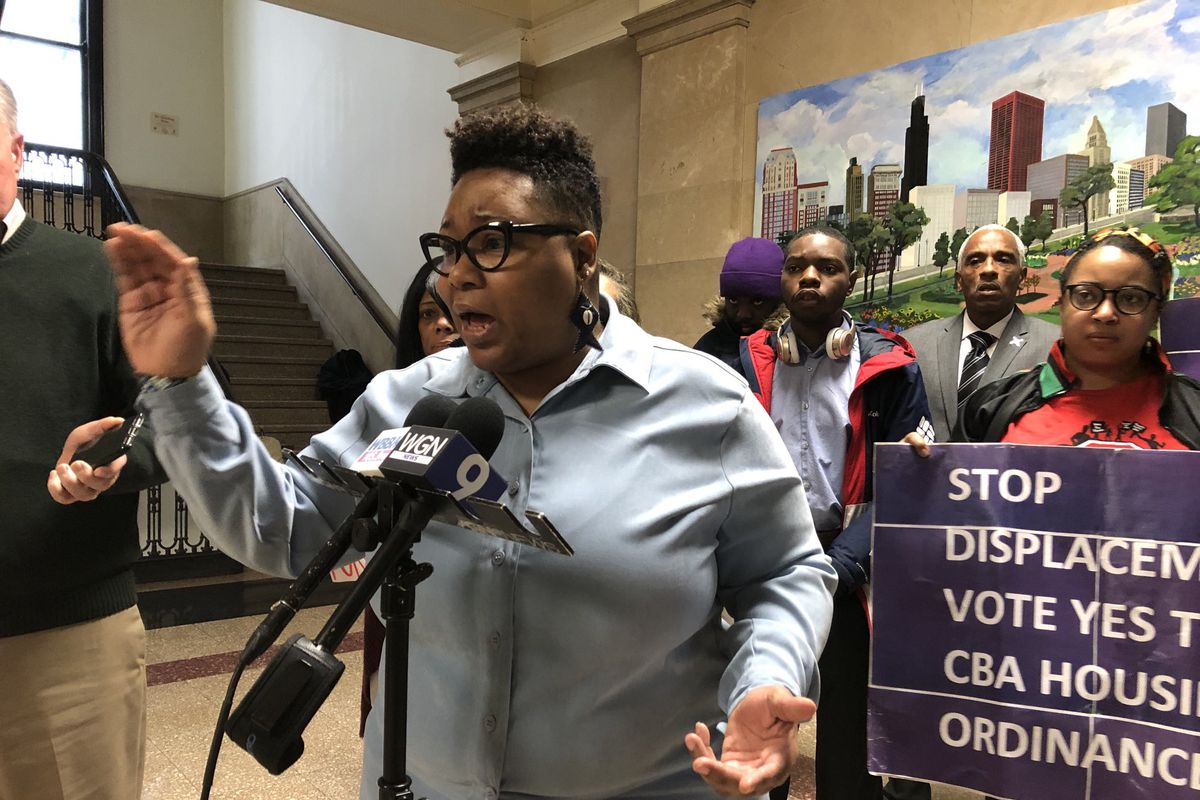 Rookie Ald. Jeanette Taylor (20th) tells a City Hall news conference on Wednesday that she is furious about Lightfoot's plan to draft her own, watered-down protection plan for Woodlawn instead of using the community benefits ordinance Taylor introduced last summer as a starting point for negotiations.