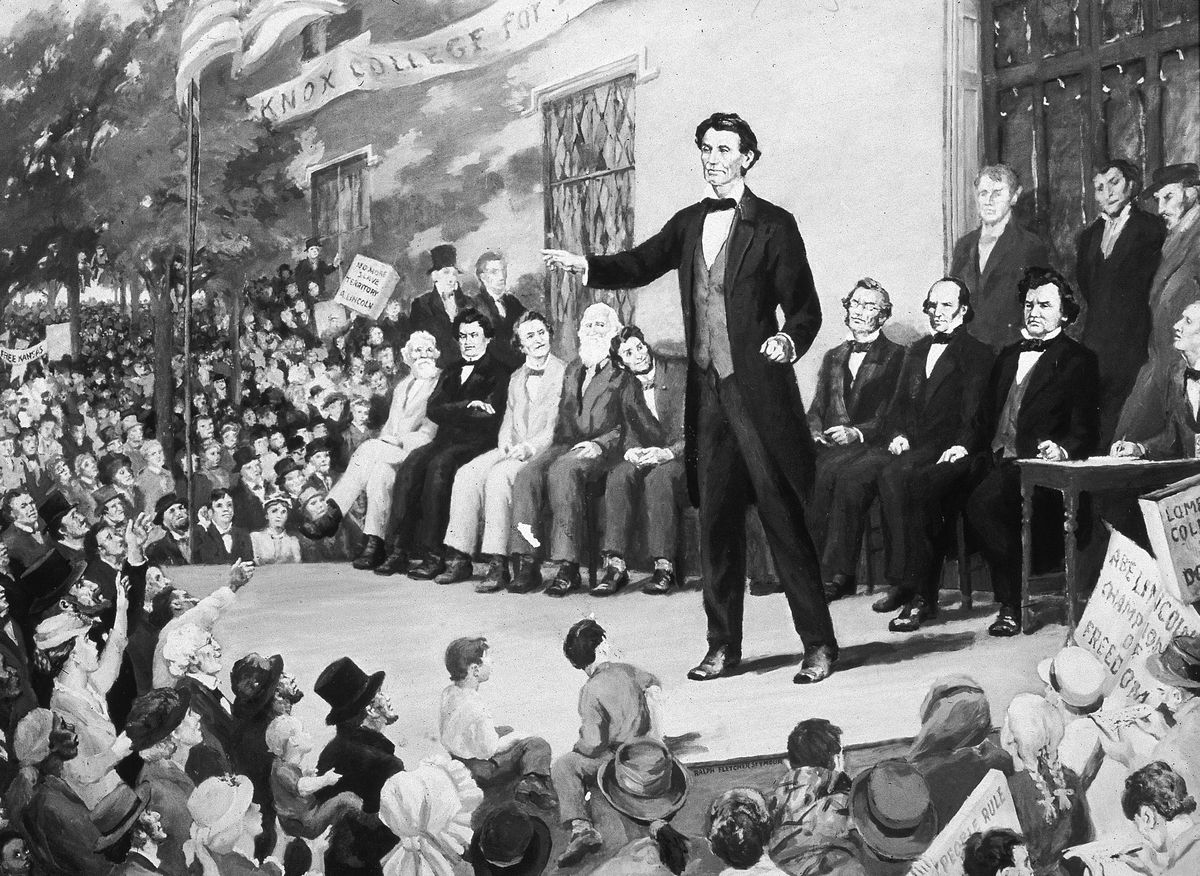 An illustration of Abraham Lincoln during one of the 1858 Lincoln-Douglas debates.