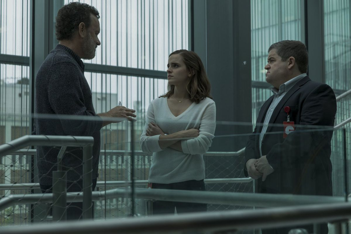Tom Hanks, Emma Watson, and Patton Oswalt in The Circle.