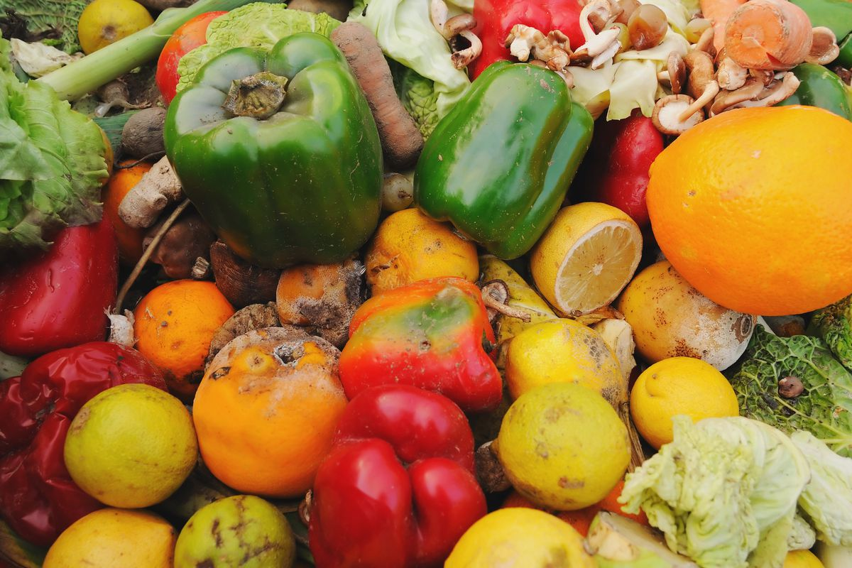 A dumpster full of rotting fruit and vegetables outside a supermarket.