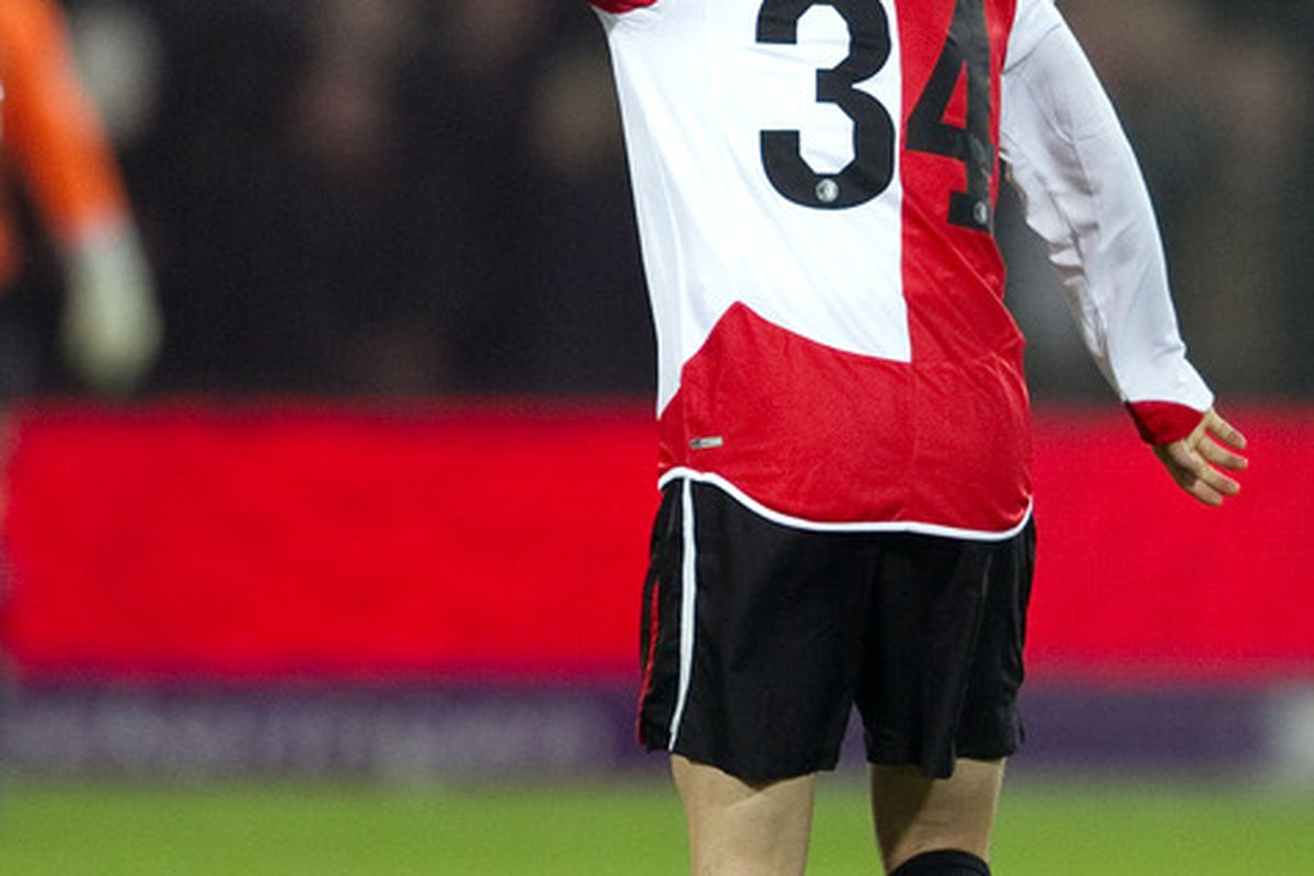 ROTTERDAM NETHERLANDS - FEBRUARY 12:  Ryo Miyaichi celebrates after his 1-0 during the Eredivisie match between Feyenoord and Heracles at the Kuip on February 12 2011 in Rotterdam Netherlands.  (Photo by Olaf Kraak/Getty Images)