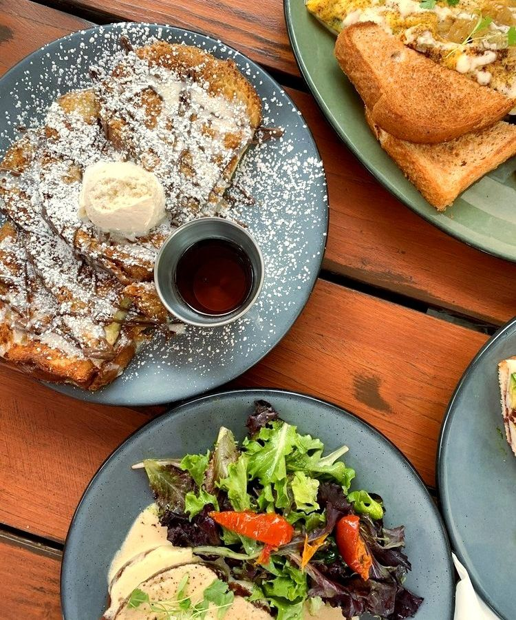 Chorizo omelet, Nutella French toast, and croque-madame