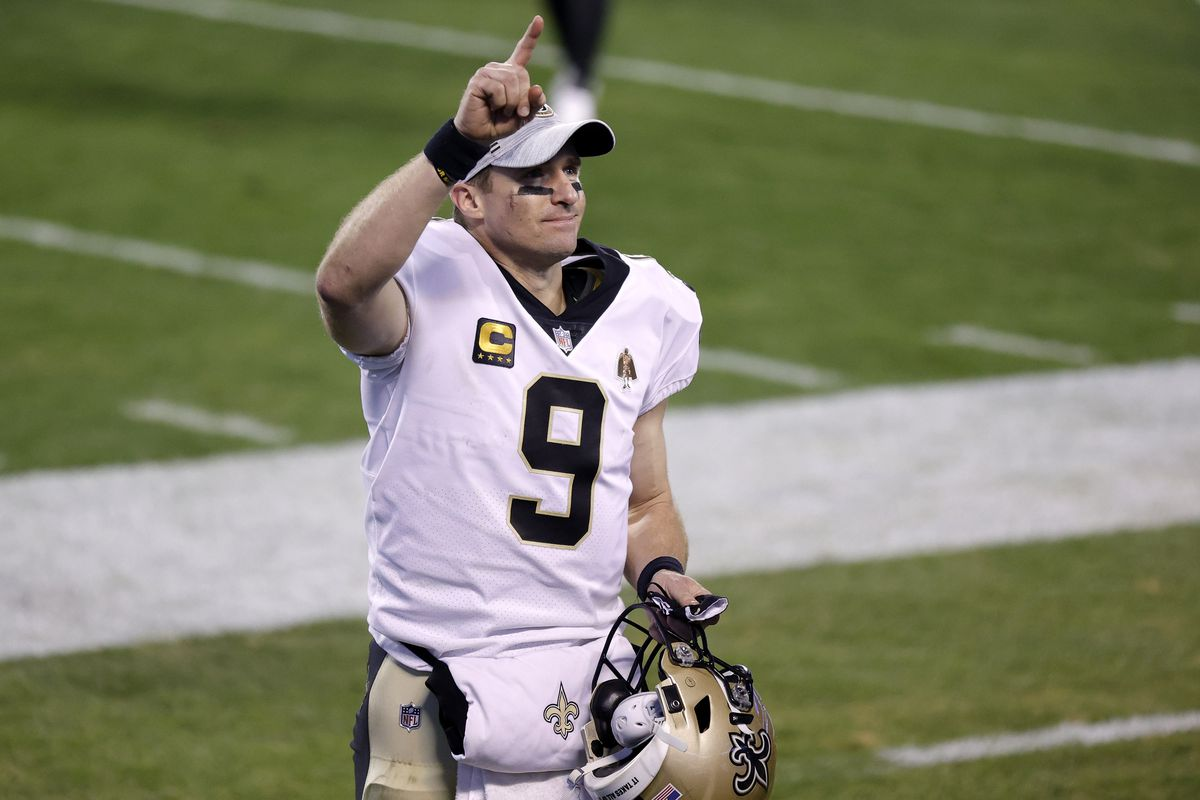 Quarterback Drew Brees #9 of the New Orleans Saints reacts following their 33-7 victory over the Carolina Panthers at Bank of America Stadium on January 03, 2021 in Charlotte, North Carolina.