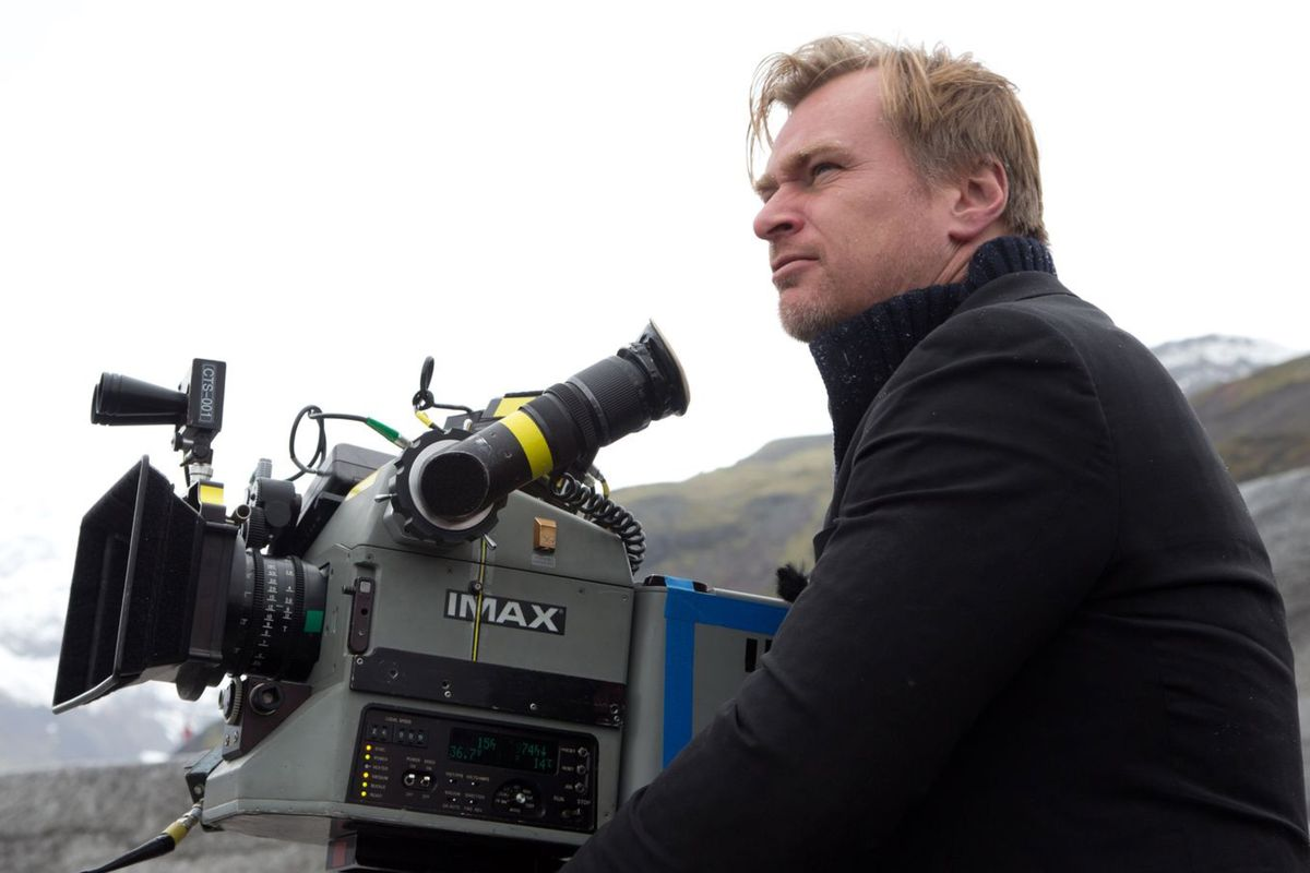 Dunkirk director Christopher Nolan with an IMAX camera. Warner Bros.