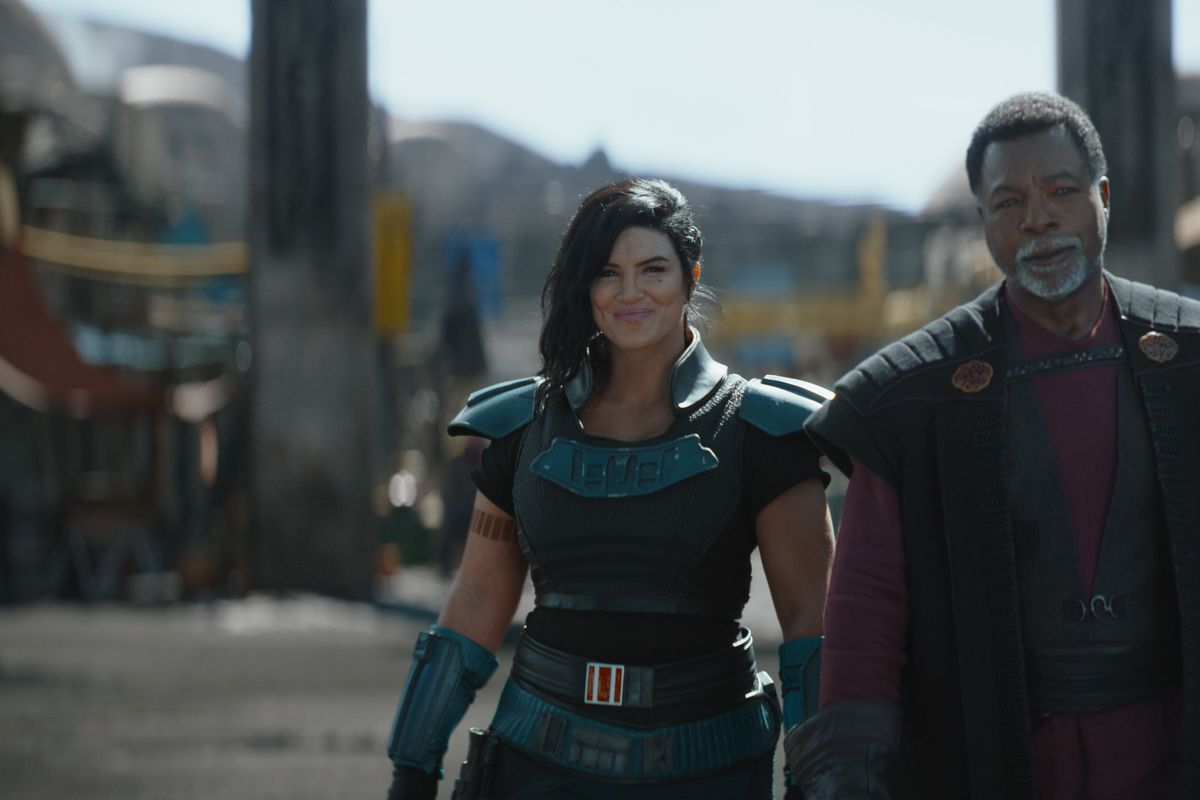 """Greef Karga (Carl Weathers), Cara Dune (Gina Carano) in """"The Mandalorian."""" Gina Carano is linking up with Ben Shapiro for a new project."""