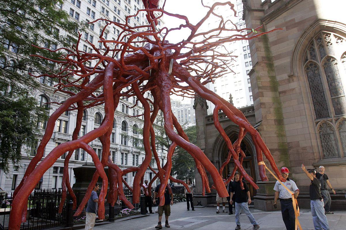 September 11 Sculpture Arrives At Church Near Ground Zero