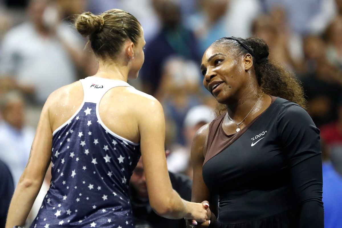 Serena Williams of the United States shakes hands wit Karolina Pliskova of Czech Republic following their women's singles quarter-final match on Day Nine of the 2018 US Open at the USTA Billie Jean King National Tennis Center on September 4, 2018 in the Flushing neighborhood of the Queens borough of New York City.