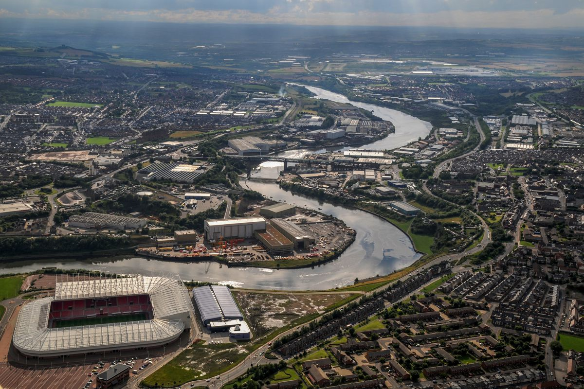 Aerial view of the River Wear and Stadium of Light, home ground of Sunderland AFC.