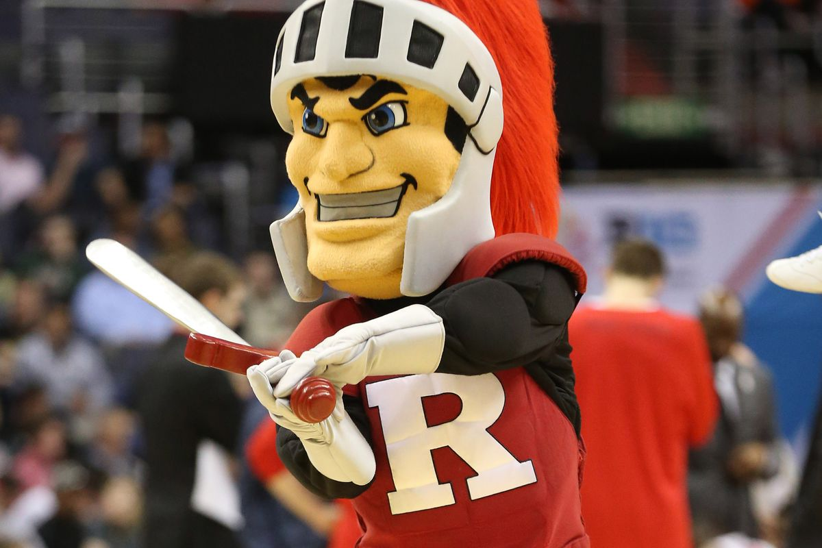 Mar 8, 2017; Washington, DC, USA; The Rutgers Scarlet Knights mascot gestures on the court during a timeout against the Ohio State Buckeyes in the second half during the Big Ten Conference Tournament at Verizon Center. The Scarlet Knights won 66-57. Mandatory Credit: Geoff Burke-USA TODAY Sports