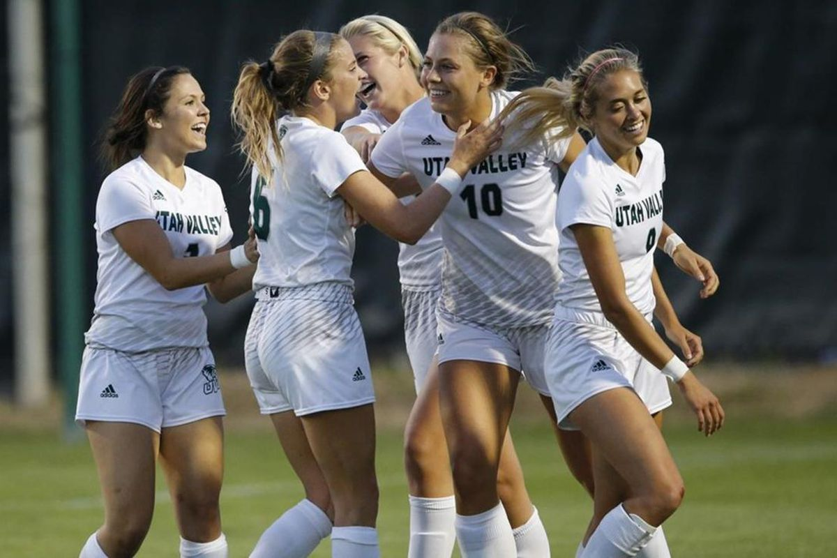 Utah Valley junior forward Breanna McCarter (right-center) celebrates with teammates after scoring a goal. UVU defeated Chicago State, 9-0, on Sunday afternoon in the Windy City.