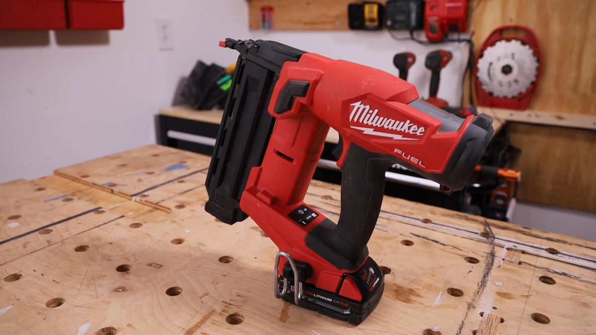 The Milwaukee M18 Fuel cordless brad nailer runs on a brushless motor that's powered by the company's 18V batteries, no matter the Amp Hour. A 2.0 Ah battery can drive hundreds of nails on a single charge; you won't outrun a fresh battery on the charger.