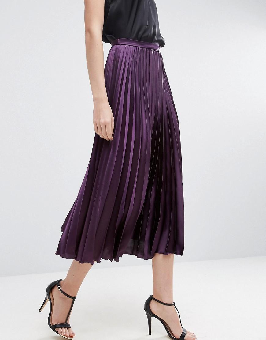 ASOS Midi Skirt in Pleated Satin, $53