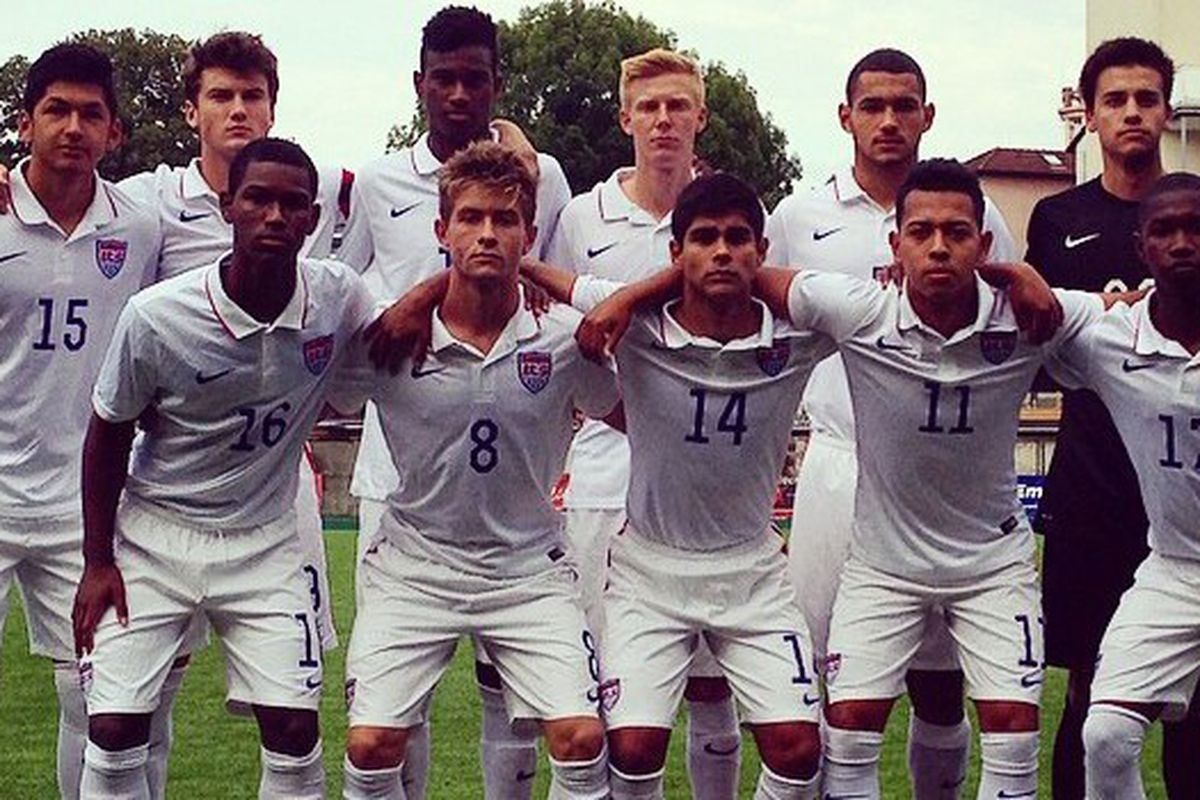 Fire Academy players Mauricio Pineda (15), Cam Lindley (8), and Collin Fernandez (14) have become regulars in the USA U18 roster.
