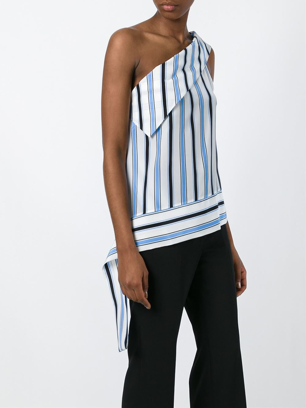 One shoulder striped tank by MSGM.