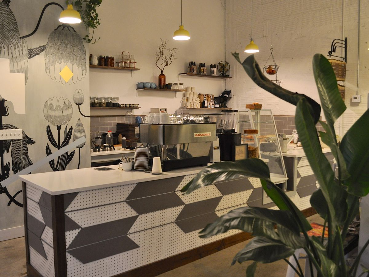 Restaurant counter in shades of gray with plants