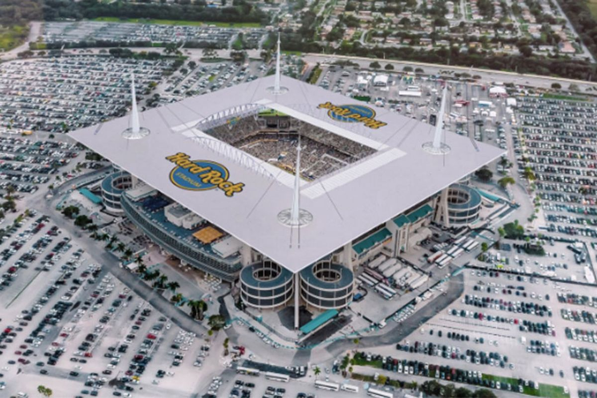 An overhead view showing where the Hard Rock logo will potentially be placed.