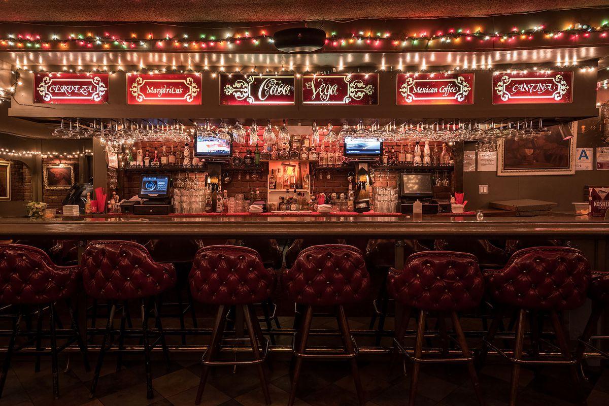 Bar at Casa Vega, lit up with string lights.