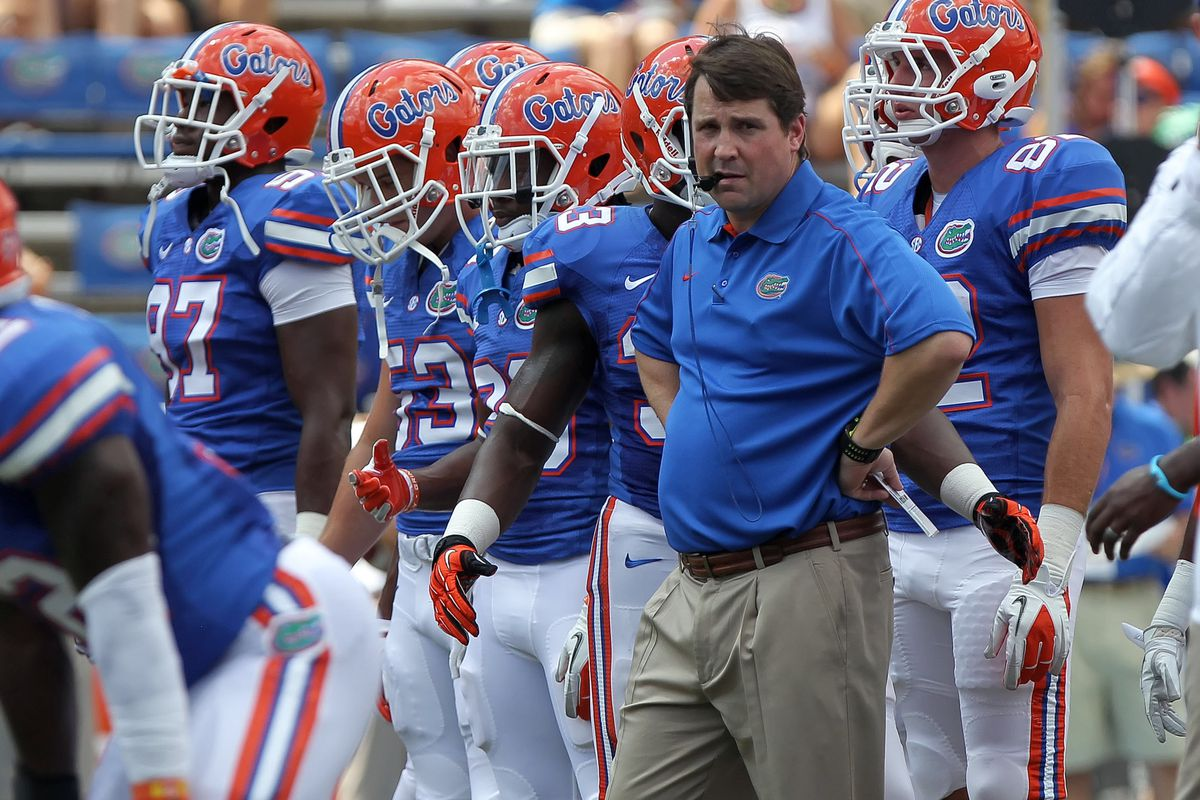 September 1, 2012; Gainesville FL, USA; Florida Gators head coach Will Muschamp reacts prior to the game against the Bowling Green Falcons at Ben Hill Griffin Stadium. Mandatory Credit: Kim Klement-US PRESSWIRE