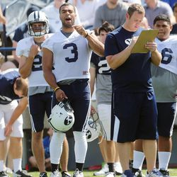 Kyle Van Noy yells out to his teammates at a BYU football practice and scrimmage Aug. 10, 2013, at LaVell Edwards Stadium.