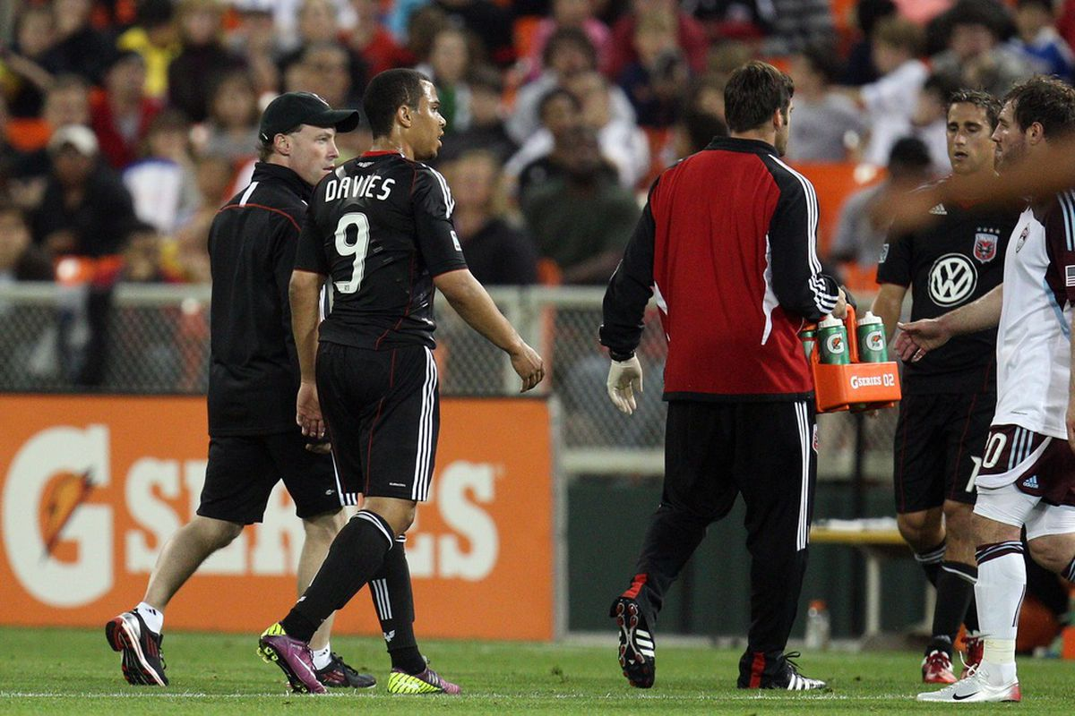 WASHINGTON, DC - MAY 14: Charlie Davies #9 of D.C. United leaves with an injury against the Colorado Rapids at RFK Stadium on May 14, 2011 in Washington, DC. (Photo by Ned Dishman/Getty Images)