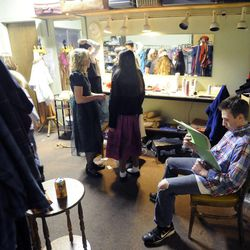 """Nate Day goes over his lines backstage prior to performing in """"The Best Christmas Pageant Ever"""" at the Valley Center Playhouse in Lindon on Thursday, Dec. 12, 2013. Owners Keith and Jody Renstrom are closing the playhouse on Dec. 21 after 38 years of community theater."""