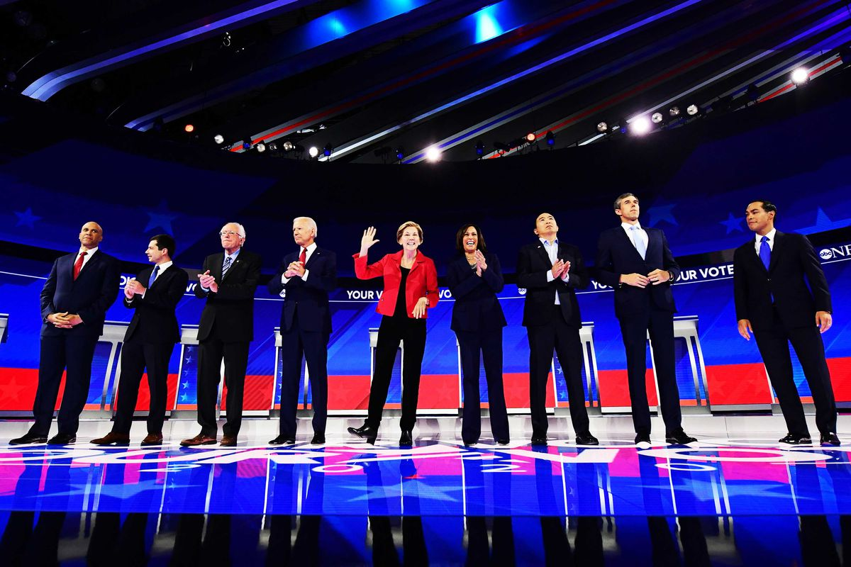 Democratic candidates stand onstage at the third Democratic primary debate at Texas Southern University in Houston, Texas, on September 12, 2019.