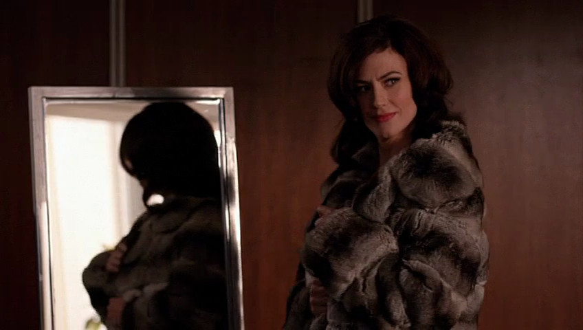 """Rachel Menken (Maggie Siff) visits Don in a dream in the Mad Men episode """"Severance."""""""
