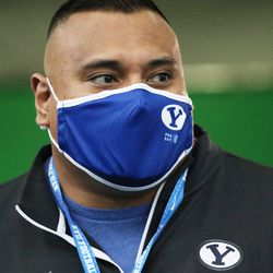 BYU coach Kalani Sitake watches during BYU pro day in Provo on Friday, March 26, 2021.